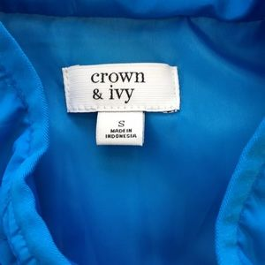 crown & ivy Jackets & Coats - Crown & Ivy Blue Quilted Vest S